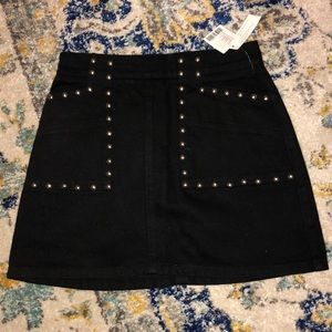 NEVER WORN! Black jean skirt with stud detail